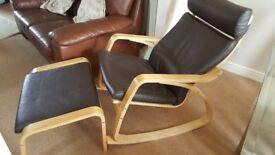 Ikea Poang Leather Rocking/Nursing Chair and Foot Stool