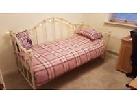 As new day bed + mattress,both excellent condition,cream ,solid cast iron, hammer finish £150 ovno