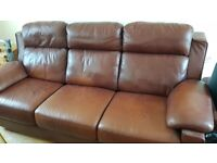 Brown Leather Sofa and Pouffe