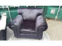 NEW Designer Black Crushed Velvet Scroll Armchair DELIVERY AVAILABLE