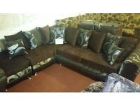 BRIXTON L SHAPE SWIRL SILVER AND BROWN BACKGROUND SOFA BRAND NEW HAND MADE £499 AMAZING SOFA