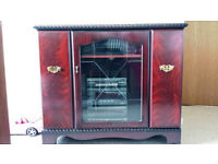 SOLID WOOD MAHOGANY GLASS FRONT TV STAND