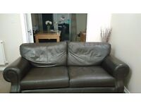 3 Seater Settee and 2 Armchairs Dark Brown Leather