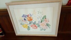 large watercolour painting of flowers