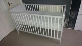 Baby Cot Bed with Mattress - Light Grey