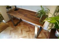 Desk/Table made with Solid Iroko Top and Industrial Steel Legs. Delivery Available. (142 x 51 x 73)
