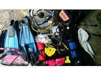 A selection of scuba diving kit