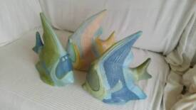 Three pottery fish - bathroom decoration