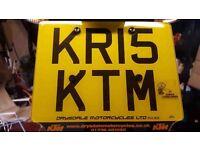 KTM KRIS PRIVATE REGISTRATION PLATE KR15KTM FOR MOTORCYCLE OR MOTOR VEHICLE