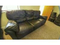 3 seater leather sofa couch black