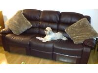 Leather effect 3 seater & 2 seater recliner sofa