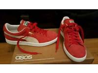 Mens red suede puma trainers size 8.5 immaculate condition worn once for 2 hours Cost £60