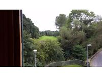 Modern unfurnished 2 bed flat overlooking golf course. New carpets and decor. OSP. Builit in robes