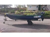 14ft fiberglass fishing boat, trailer, 5hp twin cylinder evinrude outboard, fuel tank, sold together