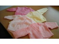New Hand knit baby girl cardigans in pastel colours and various sizes.from 3 months up.