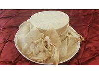 Ivory & gold hat for wedding or races