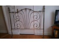 Double Bed frame Headboard brass effect good condition 141 cm high