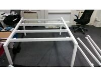 Office Bench Double Desks - White, 1400 x 1600, metal framed, 3mm PVC finish, floating top desk