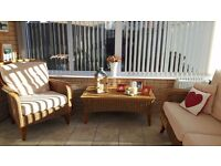 Leekes Wicker style conservatory furniture and blinds for sale