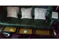 Black Real Leather 3 Seater, 2 Seater and Footstool