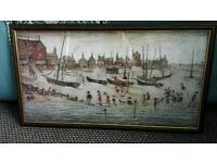 LS Lowry signed Print. Titled THE Beach