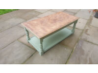 REDUCED PRICE! Coffee table in antique French green and burr wallnut top