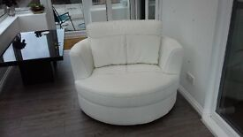 Large ivory swivel chair