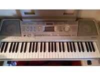 Yamaha Electric Keyboard with Stand, Sustain Pedal and Instruction Manual in Silver