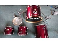 Mapex drums, Zildjian Cybals, Pearl Cymbals, Tama double bass pedal, high hat, crash, ride and more