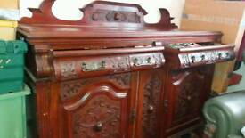 ANTIQUE PINE CARVED VICTORIAN SIDEBOARD