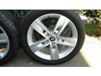 """2017 Seat 17"""" Factory Alloy wheel set with 225 x 45 R17 91W Dunlop Sport Maxx RT Tyres. Rims as new."""