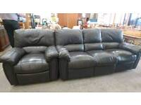 dark brown leather reclining sofa and Armchair - Delivery Available