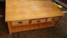 Large coffee tanle with 3 rattan drawers