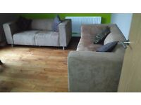 FOR SALE 2 SUEDE EFFECT FABRIC SOFAS IN GREAT CONDITION - £100 EACH OR 2 FOR £180