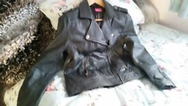Ladies Grey Leather Jacket Size 14