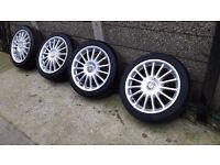 MG ZR Alloy wheels 17 inch multi spoke alloys with tyres 2 new tyres 205/45/17
