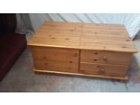 solid pine unit with 2 drawers and lift up lid