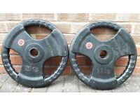 25KG CAST IRON or RUBBER OLYMPIC WEIGHT PLATES - 2 Inch holes