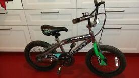 kids bike, 16 inch wheels, 4-7 yrs boys girls black silver green magna nomad