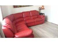 Lazy boy red leather recliner sofa