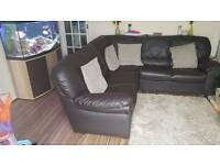 Corner sofa leather dark brown