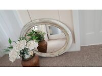 Beautiful Italian oval mirror with real gold leaf!