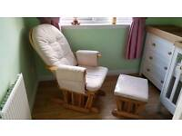 Nursing rocking / glide chair and gliding footstool
