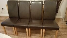 4 Brown dining chairs