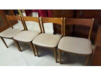 Four Matching Retro Real Wood Grey Chairs in Excellent Condition