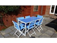 6 Seater Garden Dining Set - Table and Chairs - Blue and White