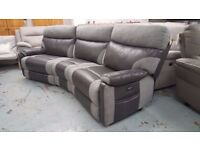 SCS Ralph Grey 4 Seater Curved Electric Recliner Sofa **Can Deliver**