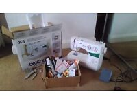 BROTHER X-3 SEWING MACHINE WITH LOTS OF ACCESSORIES **ALMOST BRAND NEW WITH STORAGE BOX**