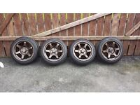 5x114.3 rota grid drifts 16'' with 4 good tyres(honda civic lexus vw type r sport)