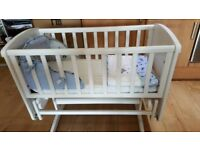 Like New - Mothercare Deluxe Glider Crib with Mattress - £40 OVNO - Smoke Free Pet Free House